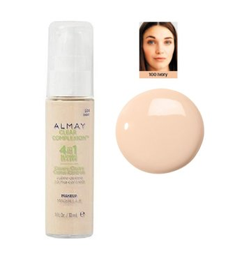 Almay Clear Complexion Liquid Makeup Foundation with 4 in 1 Blemish Eraser - 100 Ivory