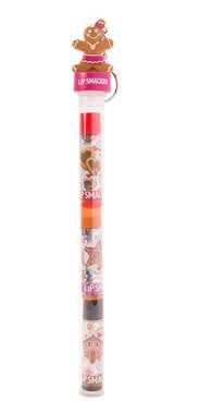 Lip Smacker Gingerbread Man Cane 3-Pack Lip Balm - 80639 Gift Set With Keychain Topper