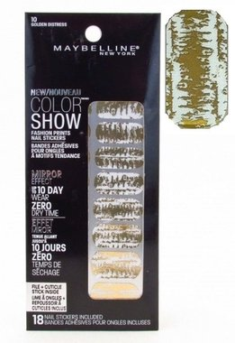 Maybelline Color Show Fashion Prints Mirror Effect Nail Stickers - 10 Golden Distress
