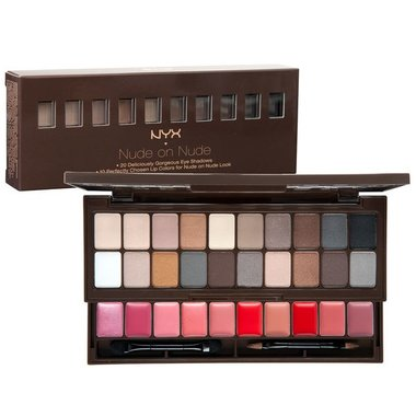 NYX Nude On Nude Palette – 20 Eye Shadows, 10 Lip Colors, Applicator/Mirror - S119
