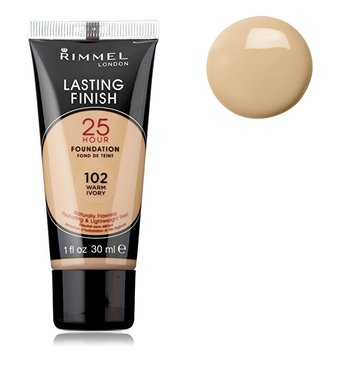 Rimmel London Lasting Finish 25 HOUR Foundation - 102 Warm Ivory