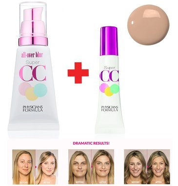 Physicians Formula Super CC Color-Correction and Care All-Over Blur Makeup Kit Includes CC cream + CC Eye Cream - 6651F Light/Medium