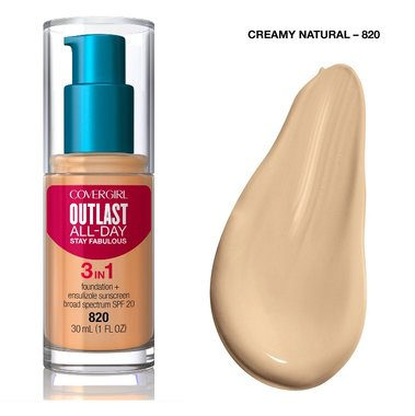 Covergirl Outlast All-Day Stay Fabulous 3-in-1 Foundation, Primer & Concealer SPF20 - 820 Creamy Natural