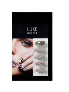 Salon Perfect Luxe Nepnagels - Luxe Nail Set - nep nagels set - 63046BP - Matte & Chrome - Mat - Nude - Grijs -Taupe - Kuns