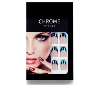 Salon Perfect Chrome Nepnagels - French Manicure - Chrome Nail Set - nep nagels set - 63032BP - Blue Chrome French Tip - Kunstn