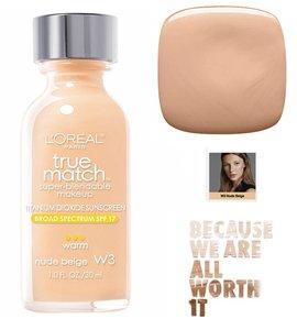 L'Oréal Paris True Match Super Blendable Makeup Foundation - W3 Nude Beige